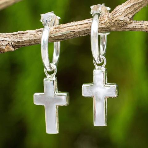 Handcrafted Sterling Silver Earrings | Cross on Half Hoop