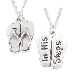 Handcrafted Sterling Silver Christian Necklace | In His Steps | Flip-Flops