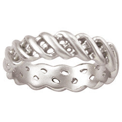 Sterling Silver Ladies' Christian Ring | Basket-Weave Braid