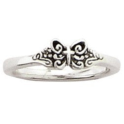 Sterling Silver Ladies' Christian Ring | Butterfly with Cross