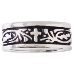Sterling Silver Ladies' Christian Ring | Cross and Vines
