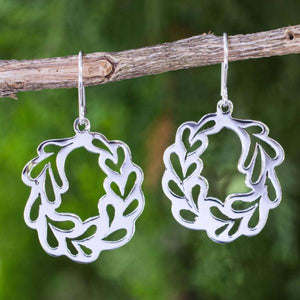 Handcrafted Sterling Silver Earrings | Laurel Wreath