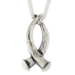 Sterling Silver Christian Fish Nail Pendant Necklace