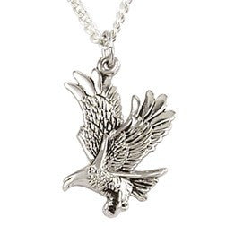 Sterling Silver Landing Eagle Pendant Necklace