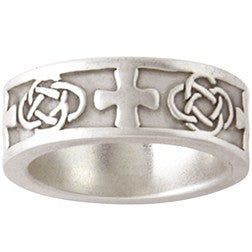 Sterling Silver Men's Christian Faith-Based Ring | Celtic Design