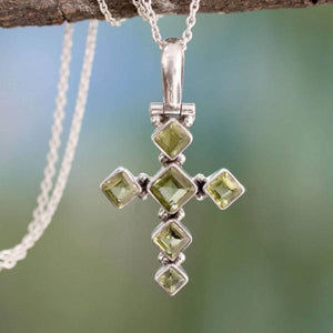 Handcrafted Peridot and Sterling Silver Cross Necklace