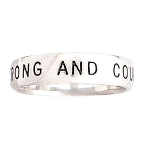 Sterling Silver Men's Ring | Strong and Courageous | Scripture Verse Joshua 1:9