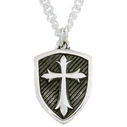 Sterling Silver Cross Shield Pendant Necklace