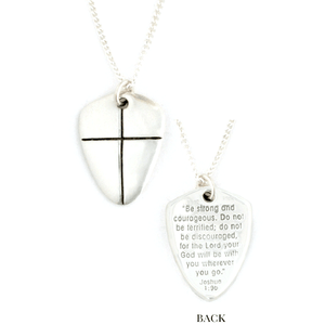 Sterling Silver Shield of Faith Necklace | Joshua 1:9 Be Strong and Courageous | Small