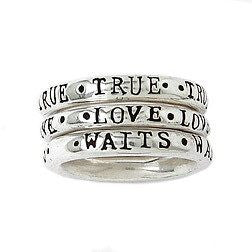 Sterling Silver Ladies' Purity Ring | True Love Waits | Set of 3 Stackable Rings
