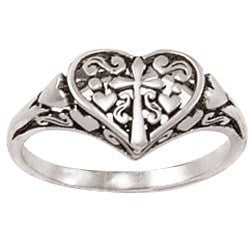 Sterling Silver Ladies' Christian Ring | Ornate Heart and Cross