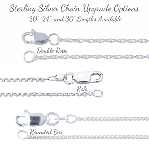Sterling Silver Chain Upgrade Options - Double Rope, Rolo, Rounded Box
