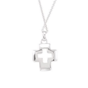 Sterling Silver Diamond Set Square Cross Pendant Necklace