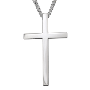 Sterling Silver Large Cross Pendant Necklace