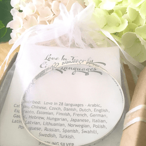 Love in Twenty Eight Languages Sterling Silver Mobius Bangle Bracelet