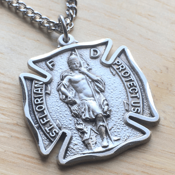 Sterling Silver St. Florian Patron Saint of Firefighters Medal | Custom Engraved