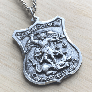 Sterling Silver St. Michael Patron Saint of Police Officers Medal | Engravable