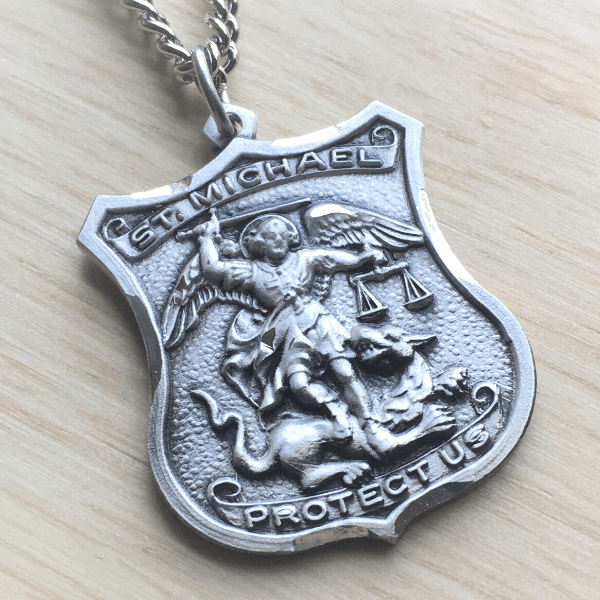 Sterling Silver St. Michael Patron Saint of Police Officers Medal | Engraveable