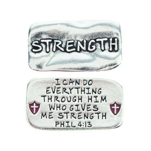 Fine Pewter Scripture Verse Pocket Token | Strength | Philippians 4:13