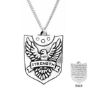 Fine Pewter Strength Shield Necklace | Wings Like Eagles | Isaiah 40:31