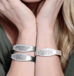 Sparkling Genuine Leather Scripture Verse Bracelets | Choose Your Verse