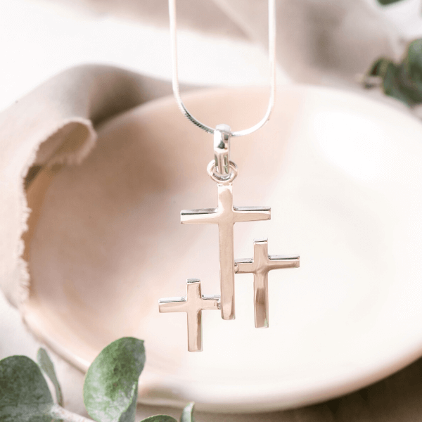 Sterling Silver Triple Cross Pendant Necklace