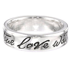 Sterling Silver Purity Ring | True Love Waits | Concave Fancy Script