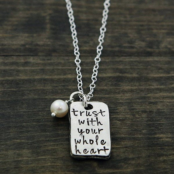 The Vintage Pearl Inspirational Faith-Based Necklace | Trust With Your Whole Heart