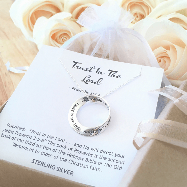 Trust in the Lord Sterling Silver Mobius Necklace | Proverbs 3:5