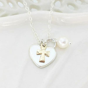 Sterling Silver and 14k Gold Christian Necklace | Two-Tone Heart Cross