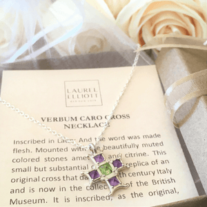 Sterling Silver Verbum Caro Cross Necklace | Amethyst and Citrine