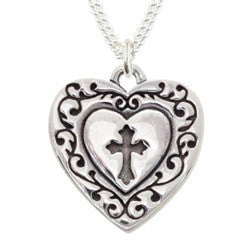 Handcrafted Sterling Silver Cross and Heart Necklace