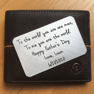 Personalized Custom Engraved Wallet Card Insert | Actual Handwriting Option Available