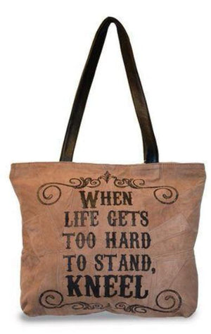 Divinity Boutique Suede Tote Bag | When Life Gets Too Hard To Stand, Kneel