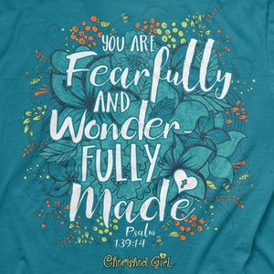 Cherished Girl Christian T-Shirt | Psalm 139:14 Wonderfully Made