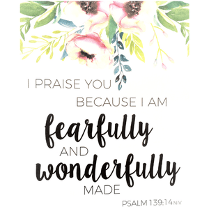 Fearfully & Wonderfully Made Bible Verse Watercolor Art Print | Psalm 139:14