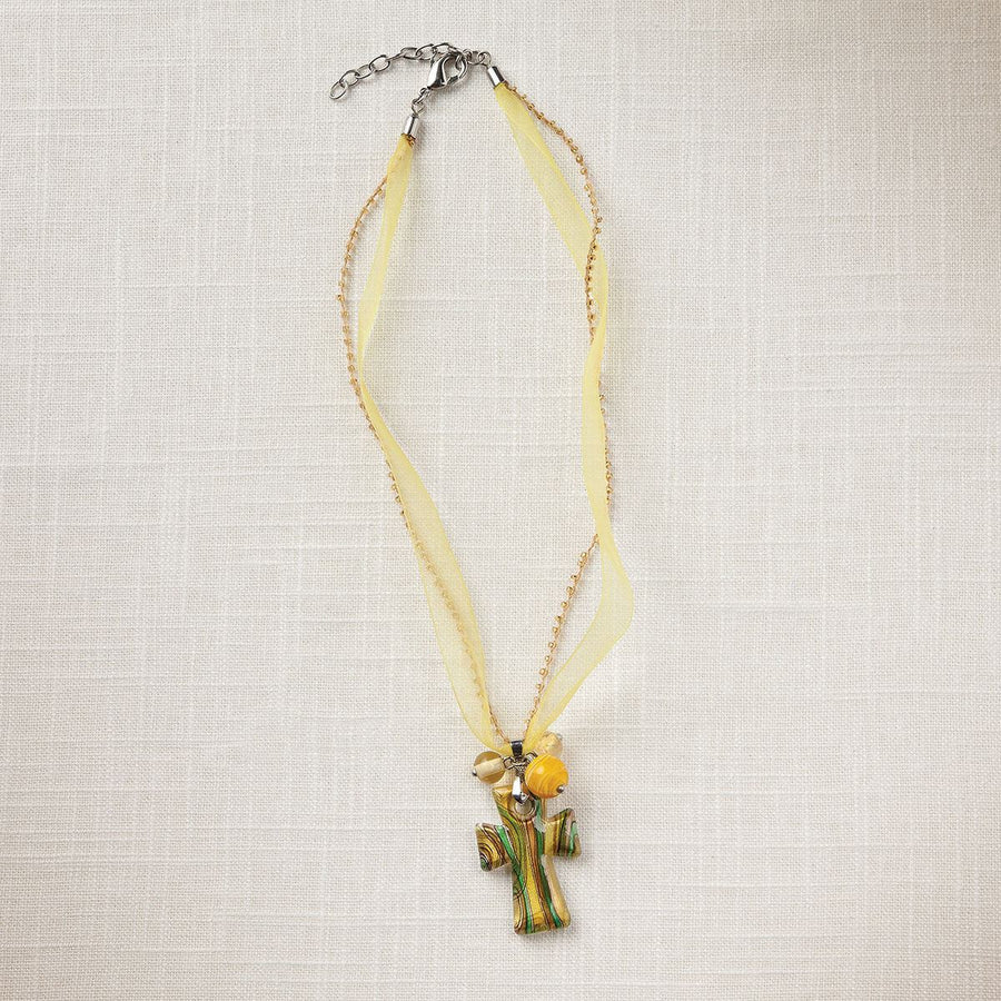 Yellow Artisan Glass Cross Necklace
