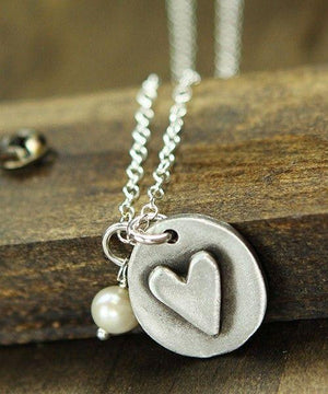The Vintage Pearl Double Sided Hand-Stamped Necklace | You are Loved