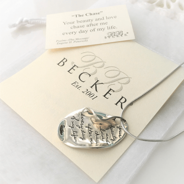 Sterling Silver Scripture Necklace - Your beauty and love chase after me... Psalm 23:6