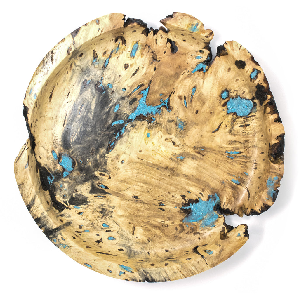 Wood Proper - Turquoise Tranquility - Handcrafted Buckeye Burl Bowl