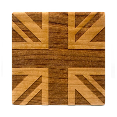 God Save the Queen - Cherry Wood Coasters (Set of 4)
