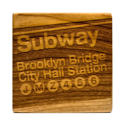 Brooklyn Mainline - Cherry Wood Coasters (Set of 4)