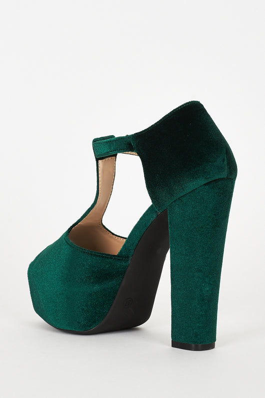 e6e0036ed0319 Green Velvet Block Heel Platform T-Bar Sandals-Fabulous Bargains Galore