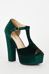 Green Velvet Block Heel Platform T-Bar Sandals