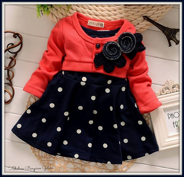 Warm Polka Dot Baby Girl Dress
