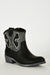Textured Silver Leatherette Cowboy Boots In Black-Fabulous Bargains Galore