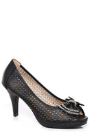 Embellished Bow Peep Toe Shoes In Black-Fabulous Bargains Galore
