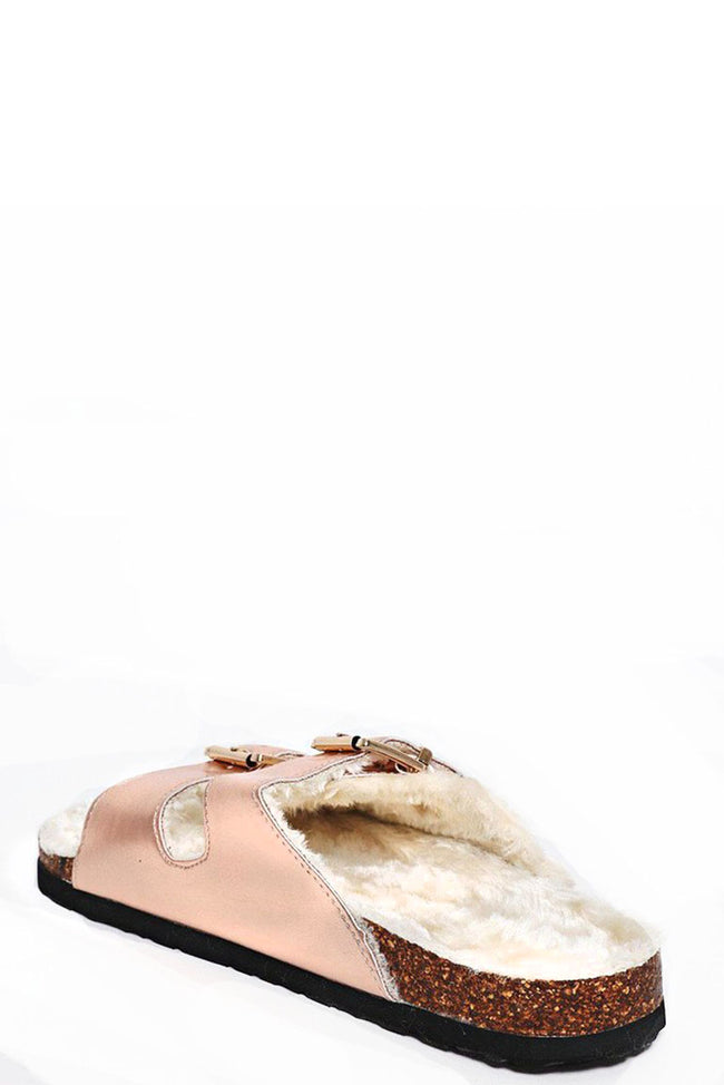 Faux Fur Slides in Metallic-Fabulous Bargains Galore