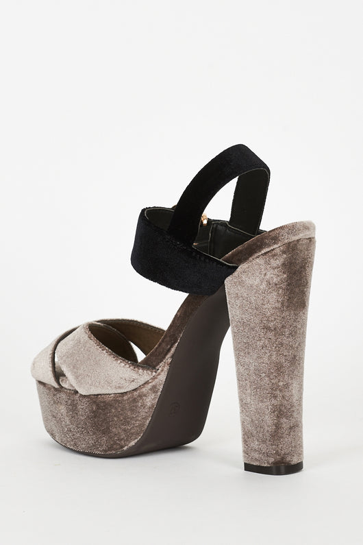 abaa5243ee207 Mocha And Black Velvet Block Heel Platform Sandals-Fabulous Bargains Galore