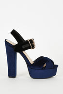 Navy And Black Velvet Block Heel Platform Sandals-Fabulous Bargains Galore